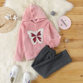 2-piece Kid Girl Animal Butterfly Embroidered Sequined Hoodie Sweatshirt and Textured Pants Set