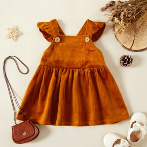 Baby Girl Solid Flutter-sleeve A-line Dress with Pocket