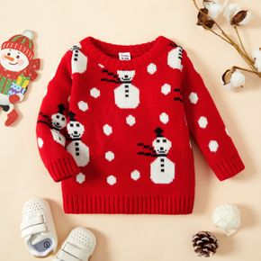Christmas All Over Snowman Pattern Red Baby Girl Long-sleeve Knitted Sweater