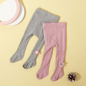 Baby / Toddler Floral Decor Solid Color Pantyhose Leggings