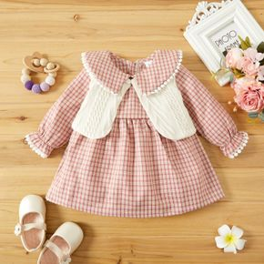 2pcs Baby Plaid Doll Collar Long-sleeve Dress and Knitted Vest Set