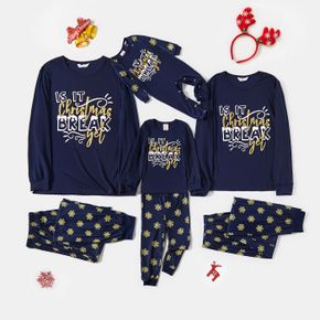 Christmas Letter and Snowflake Print Dark Blue Family Matching Long-sleeve Pajamas Sets (Flame Resistant)