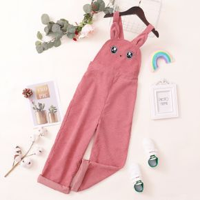 Kid Girl Cat Embroidered Ear Design Pink Overalls