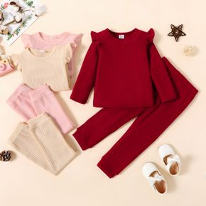2-piece Toddler Girl Ruffled Textured Long-sleeve Top and Solid Color Pants Set