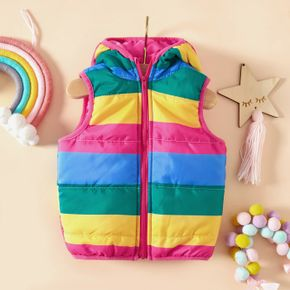 Baby Boy/Girl Rainbow Striped Sleeveless Hooded Thickened Outwear Vest