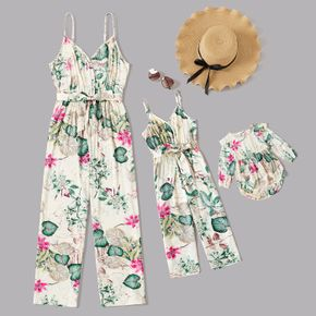 All Over Plants and Floral Print Belted Sleeveless V Neck Cami Jumpsuits for Mom and Me