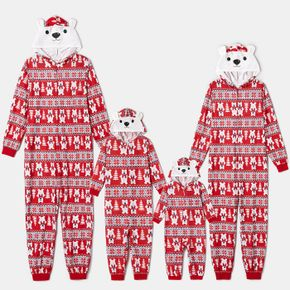 Christmas All Over Polar Bear Print Red Family Matching Long-sleeve Hooded Zip Onesies Pajamas Sets (Flame Resistant)
