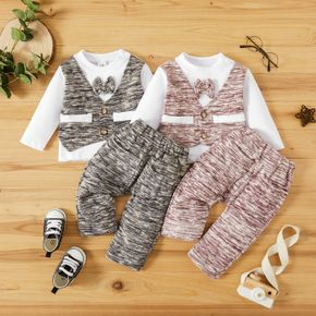 2pcs Baby Heathered Gentleman Bow Tie Long-sleeve Cotton Faux-two T-shirt and Trousers Set