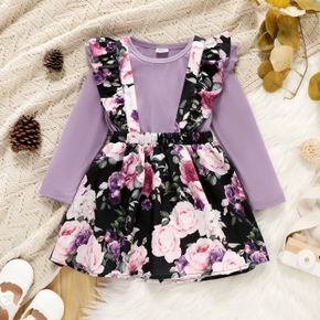 2-piece Toddler Girl Ruffled Long-sleeve Top and Floral Print Suspender Skirt Set