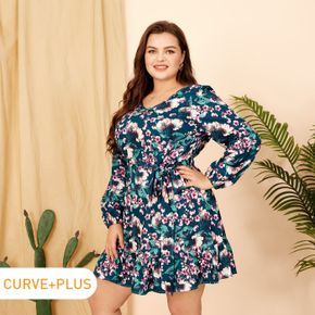 Women Plus Size Vacation V Neck Floral Print Belted Long-sleeve Dress