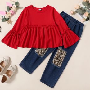 2-piece Kid Girl Christmas Ruffled Long Bell sleeves Top and Leopard Print Patchwork Ripped Denim Jeans Set