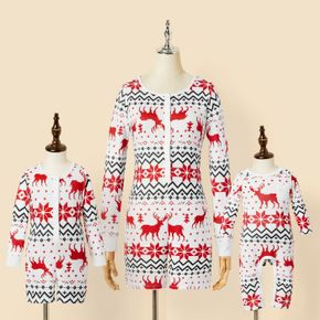 Christmas All Over Reindeer Print White Long-sleeve Snug-fit Jumpsuit Shorts for Mom and Me