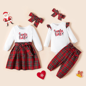 Christmas Letter Print Sibling Matching Long-sleeve Splicing Red Plaid Sets