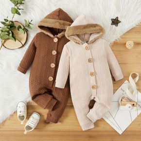 Baby Boy/Girl Solid Fuzzy Fleece Hooded Long-sleeve Knitted Jumpsuit