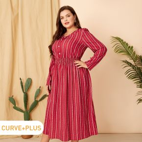 Women Plus Size Vacation Striped V Neck Button Design Waisted Dress