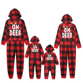 Christmas Reindeer and Letter Print Red Plaid Family Matching Long-sleeve Hooded Onesies Pajamas Sets (Flame Resistant)