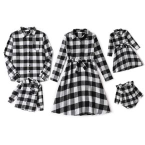 Christmas Black Plaid Family Matching Long-sleeve Lapel Belted Dresses and Shirts Sets