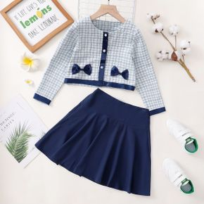 2-piece Kid Girl Plaid Button Bowknot Design Tweed Long-sleeve Top and Blue Skirt Set