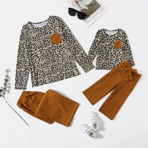 Leopard Long-sleeve Top with Solid Corduroy Pants Sets for Mom and Me