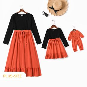 100% Cotton Color Block Long-sleeve Belted Dress for Mom and Me