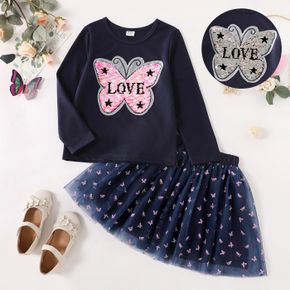 2-piece Kid Girl Letter Butterfly Pattern Flip Sequined Long-sleeve Top and Mesh Skirt Set