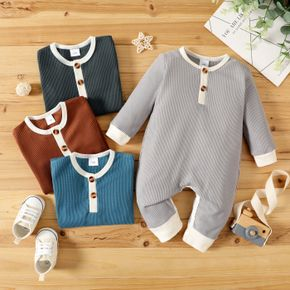 100% Cotton Solid Waffle Long-sleeve Baby Jumpsuit