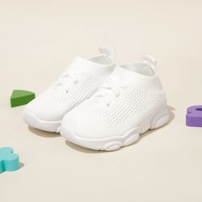 Toddler / Kid Solid Color Slip-on Breathable Mesh Flying Woven Sports Shoes