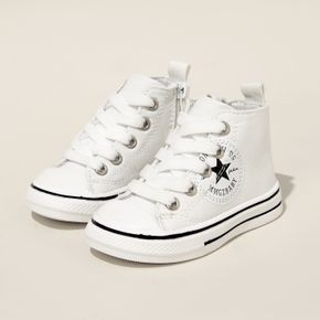 Toddler Stars Graphic Detail Side Zipper White Canvas Shoes