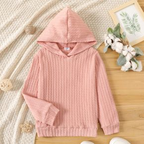 Kid Girl Cable Knit Textured Solid Color Hoodie Sweatshirt