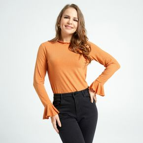 Stand collar Flared Sleeves Long-sleeve T-shirt