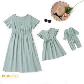 100% Cotton Solid Round Neck Ruffle Short-sleeve Dress for Mom and Me