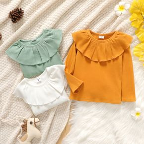 Toddler Girl Flounce Solid Color Ribbed Long-sleeve Tee