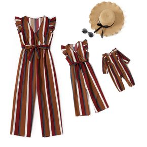 Multi-color Striped Cross V Neck Ruffle Sleeveless Jumpsuit for Mom and Me