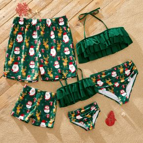 Christmas All Over Santa and Reindeer Print Green Family Matching Swimsuits