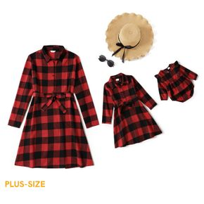 Christmas Red Plaid Lapel Long-sleeve Belted Shirt Dress for Mom and Me