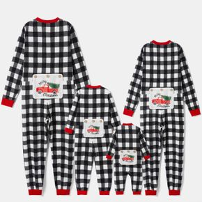 Christmas Tree in Car Letter Print Black Plaid Family Matching Long-sleeve Thickened Polar Fleece Onesies Pajamas Sets (Flame Resistant)