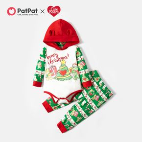 Care Bears 2-piece Baby Boy/Girl Christmas Tree Hooded Bodysuit and Allover Pants Set