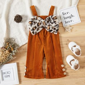 Baby Girl Leopard Bowknot Brown Sleeveless Jumpsuit Overalls