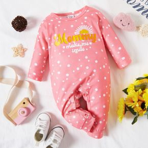 Baby Girl Letter Print Polka Dots Pink Long-sleeve Jumpsuit