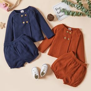 2pcs Baby Boy Solid Waffle Double Breasted Long-sleeve Top and Bloomers Shorts Set