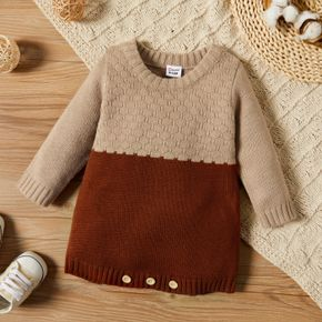 Baby Girl Long-sleeve Color Block Knitted Romper