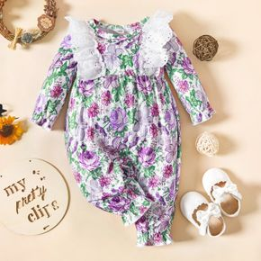 Baby Girl All Over Purple Floral Print Long-sleeve Ruffle Jumpsuit