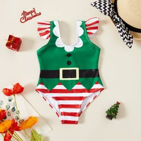 Christmas Elf Outfit Striped Flutter-sleeve Baby Swimsuit