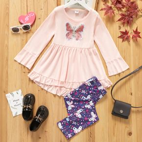 2-piece Kid Girl Butterfly Sequined Ruffle Hem Long-sleeve Top and Leggings Set