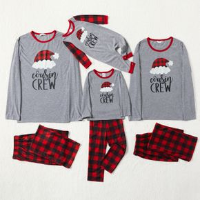 Christmas Hat and Letter Print Grey Family Matching Long-sleeve Plaid Pajamas Sets (Flame Resistant)