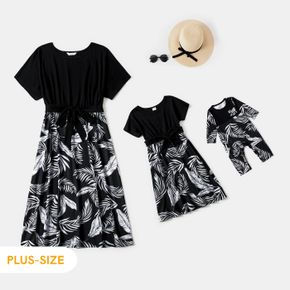 Plants Print Splicing Black Short-sleeve Belted Midi Dress for Mom and Me