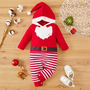 Christmas Santa Claus Costume Red Striped Baby Long-sleeve Hooded Jumpsuit