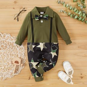 Star Print Splicing Army Green Cotton Lapel Long-sleeve Bow Tie Gentleman Baby Jumpsuit