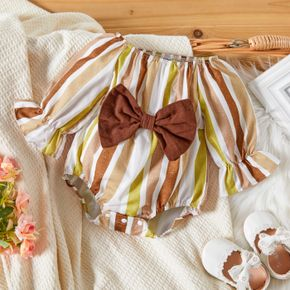 Baby Girl Striped Off Shoulder Long-sleeve Bowknot Romper