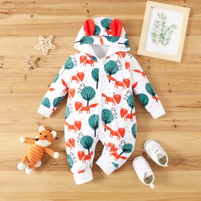100% Cotton All Over Cartoon Fox and Tree Print Baby Long-sleeve 3D Ears Hooded Jumpsuit